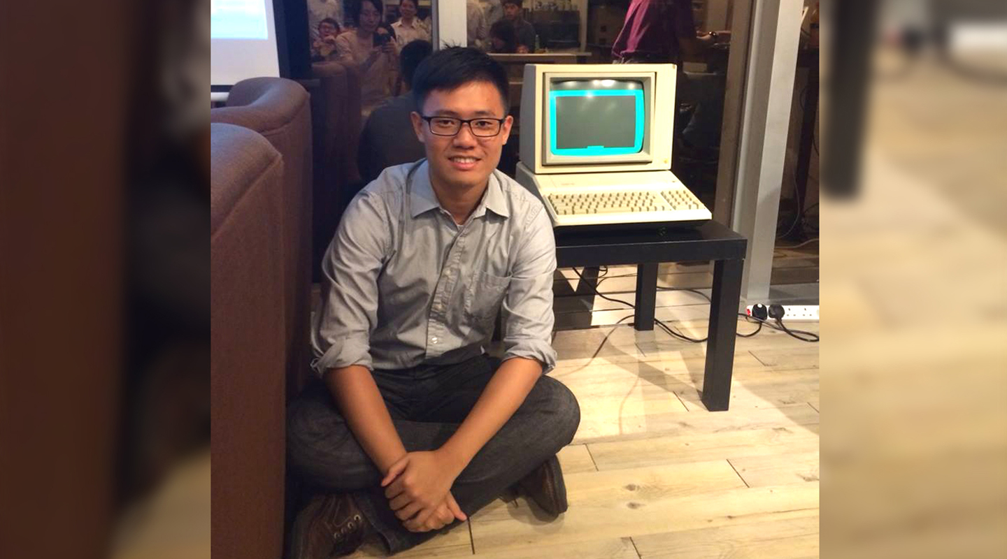 Pictured with a first generation personal computer on a computer engineering alumni gathering in 2015