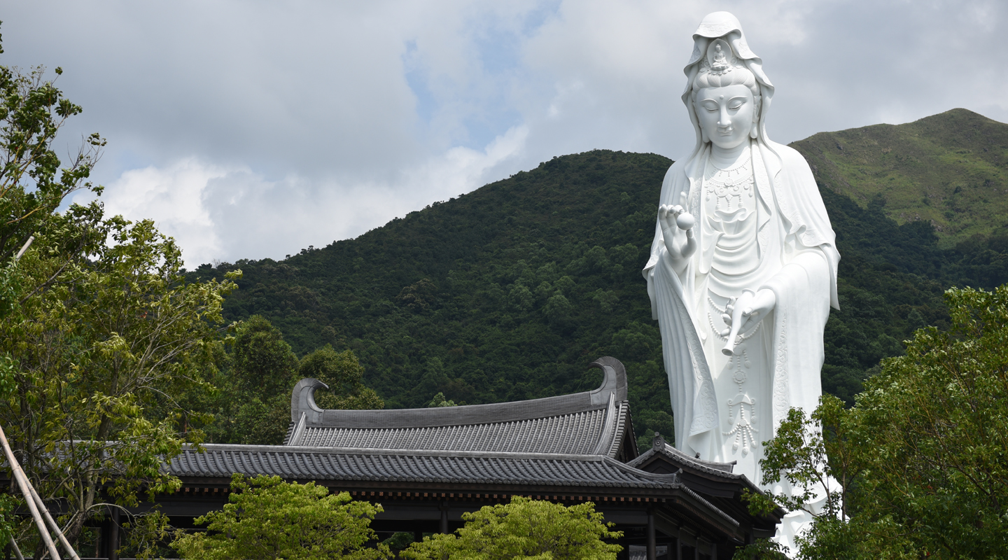 The massive Guanyin statue is twice the height of Big Buddha in Lantau. Absent from Tsz Shan's tradition-inspired modern buildings are interlocking brackets under the eaves that are a feature of Tang architecture
