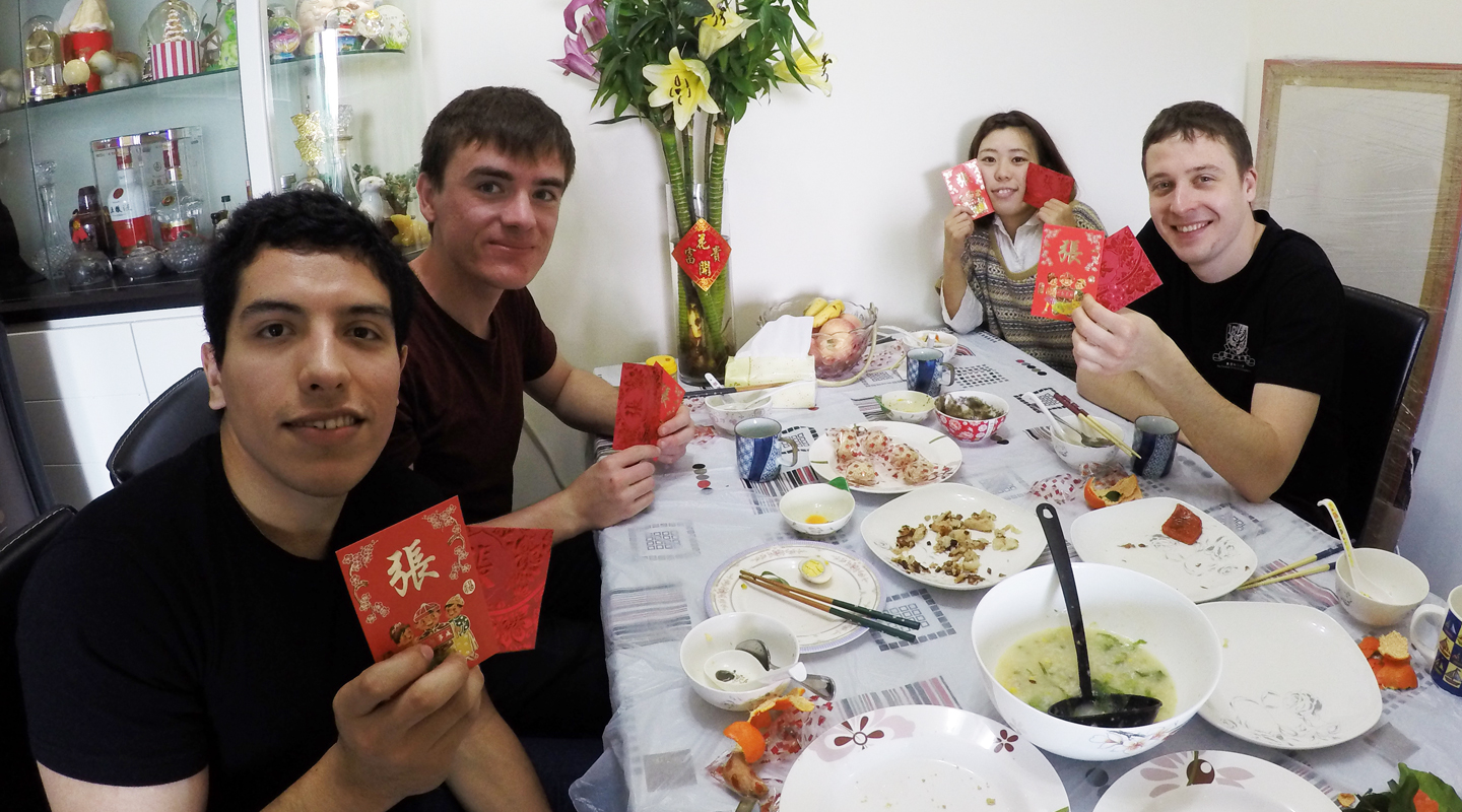 Exchange students visit a local student's home during the Chinese New Year to experience the traditional festivities <em>(Photo provided by Ruby Cheung)</em>