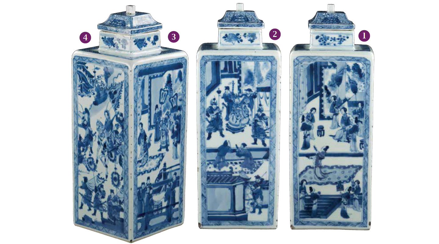 Blue-and-White Square Vase and Cover<br /> Jingdezhen ware, Jiangxi province<br /> Kangxi, Qing (1662&ndash;1722)<br /> Height (with cover) 31 cm<br /> University Purchase<br /> 2016.0054