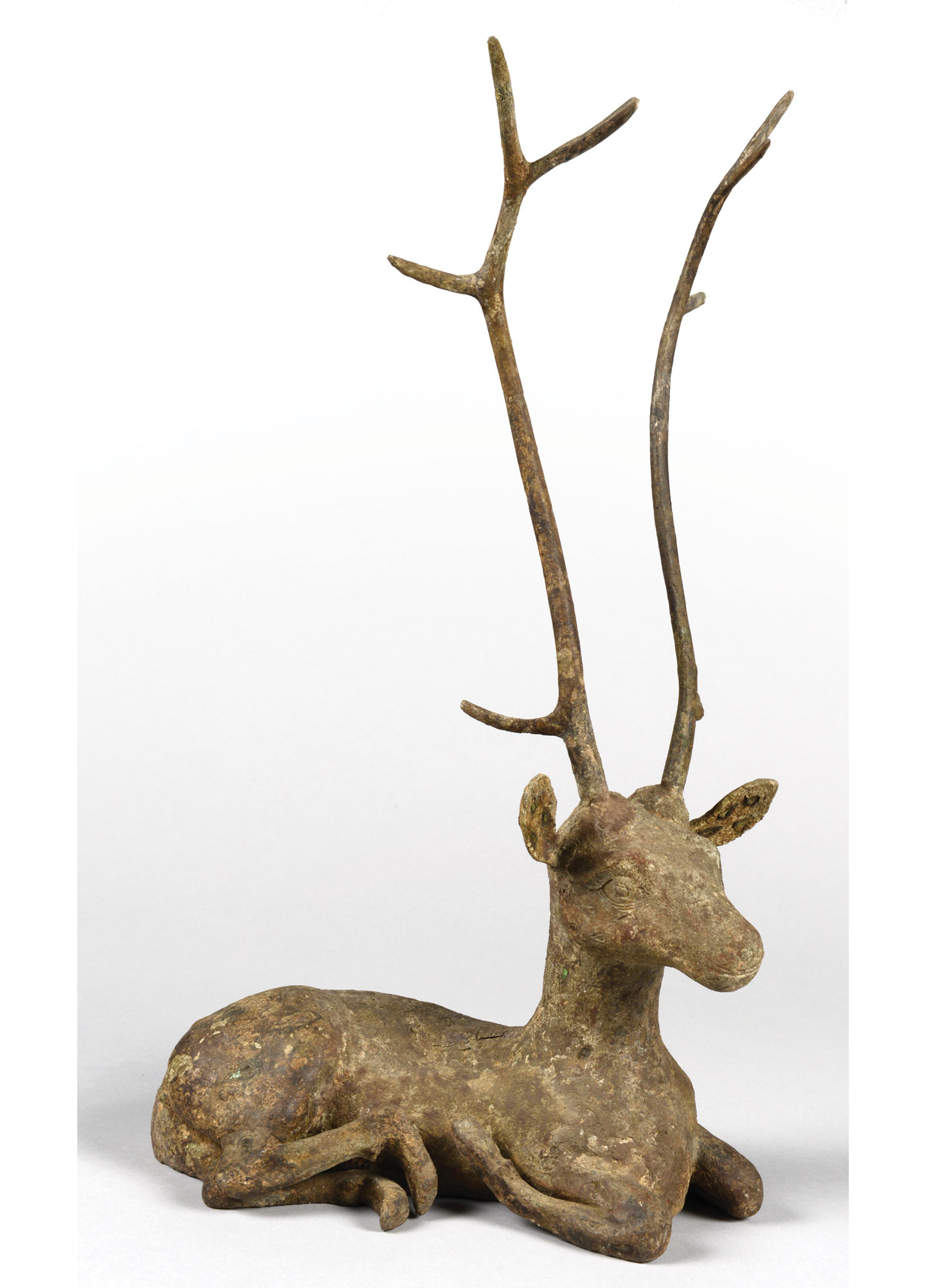 Bronze Deer Inlaid with Gems<br> Western Han or earlier<br> Height (including antlers): 52 cm<br> Length: 26 cm<br> Unearthed in the Western Han Tomb at Sanlidun, Lianshui County, Jiangsu Province<br> <br> The Bronze Deer is on display in the Art Museum of CUHK in the exhibition 'From the Realm of the Immortals: Meanings and Representations of the Deer from the Nanjing Museum', until 28 May 2017