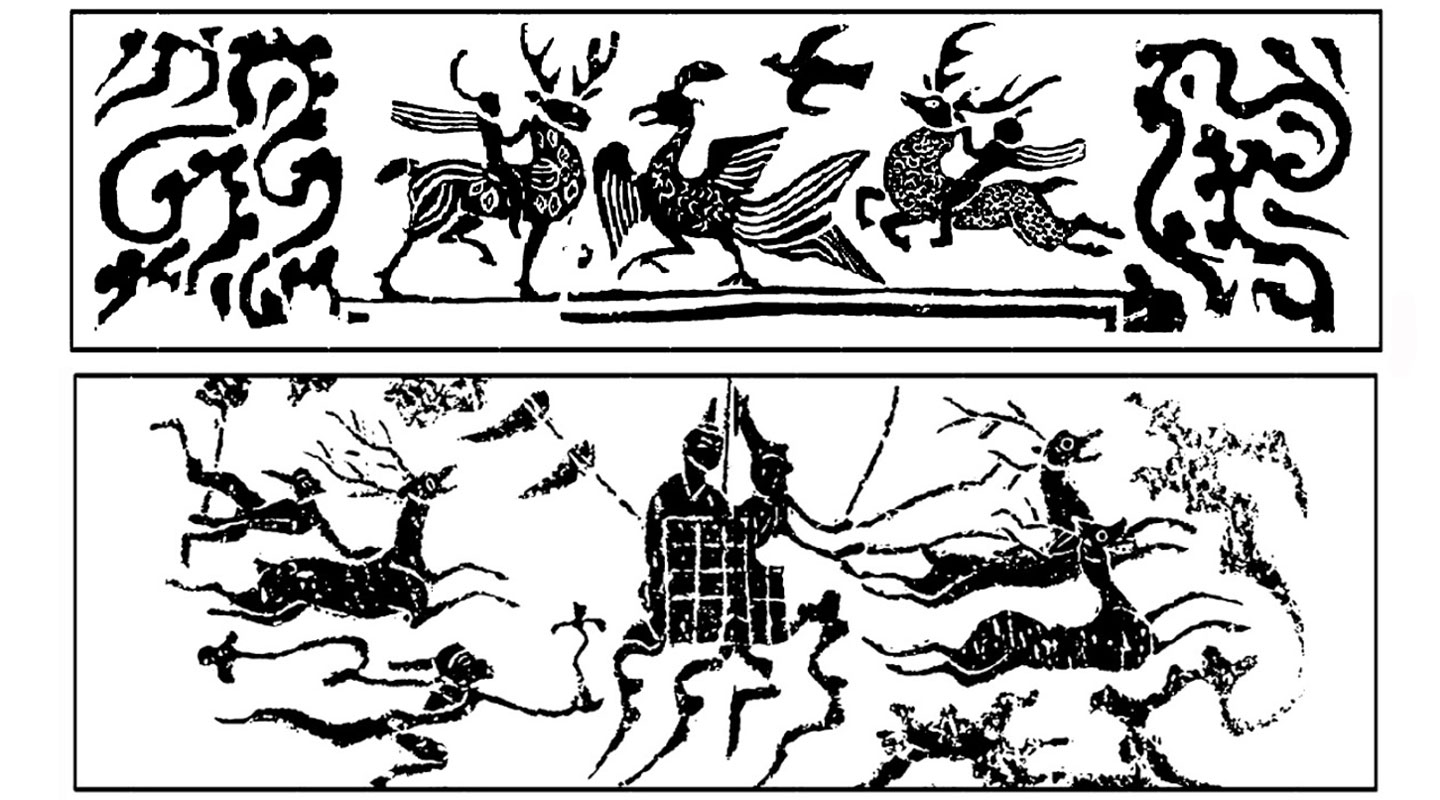Han rubbings showing immortals riding on deer (top) and immortals on a wagon pulled by deer (bottom)