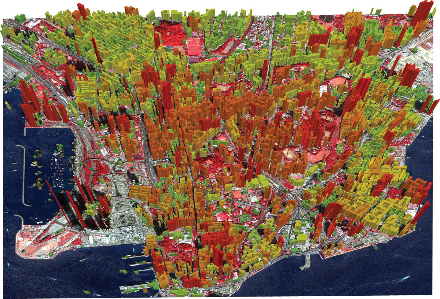 In the Kowloon 3D map produced by CUHK, the height of buildings is indicated by colours. The buildings in red are the tall ones