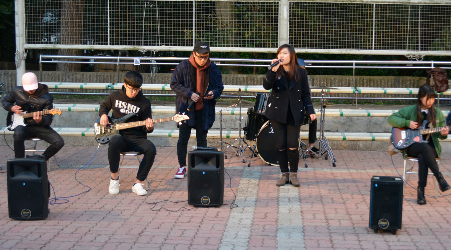 Students are performing underground music