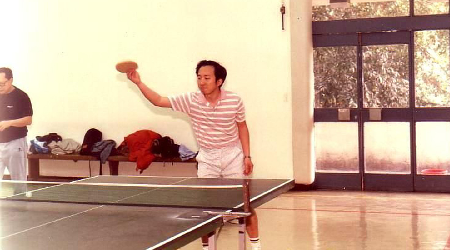 Playing Ping-Pong at Chung Chi College, pictured in 1988 when Hau first joined CUHK