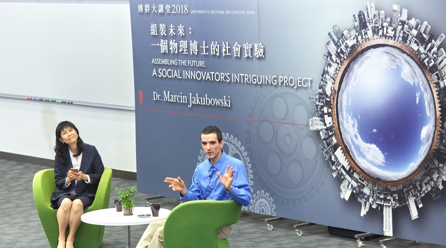 Dr. Jakubowski <em>(right)</em> and Prof. Ng Mee-kam of the Department of Geography and Resource Management at Q&A session