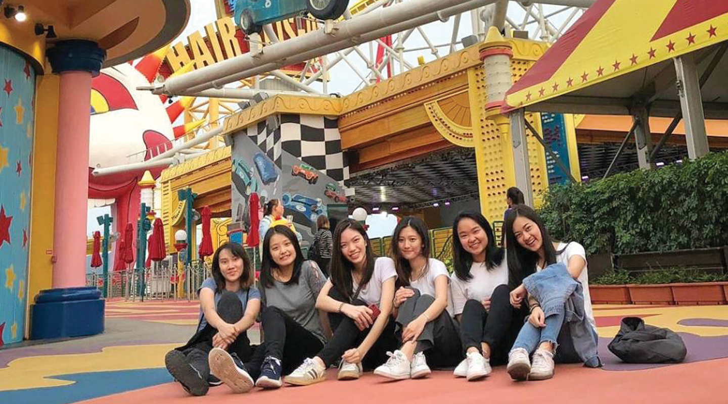 (1st right) Visiting Ocean Park with friends this April