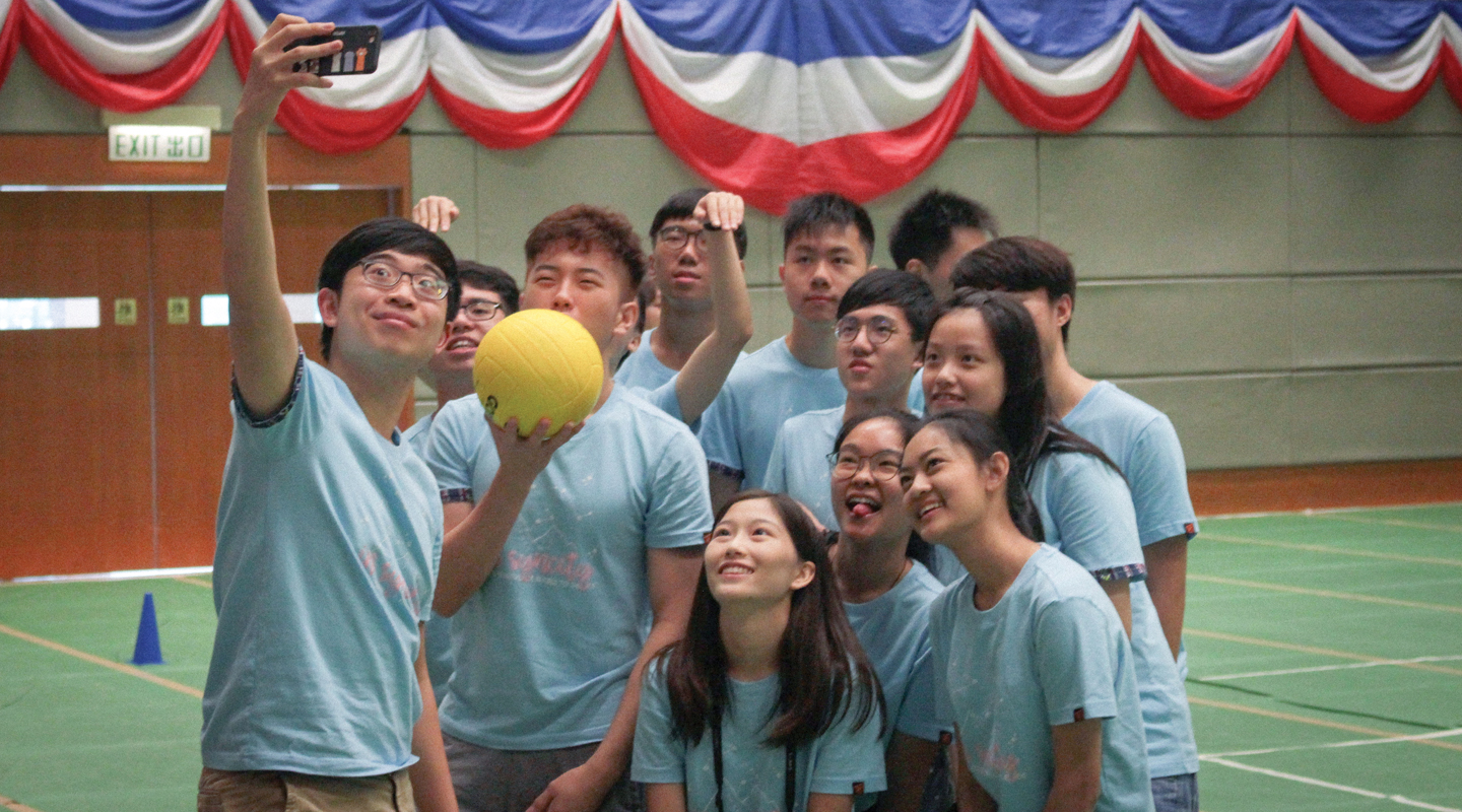 (1st right, front row) Having fun at Wu Yee Sun College Orientation Camp in August 2018