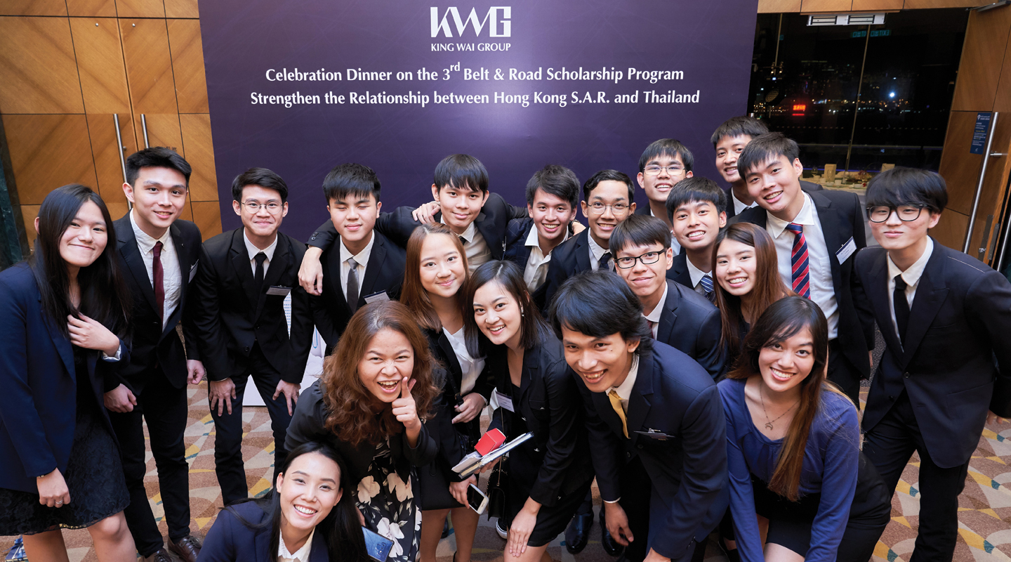 (3rd right, front row) Attending the celebration dinner of the Third Belt and Road Scholarship Program this September