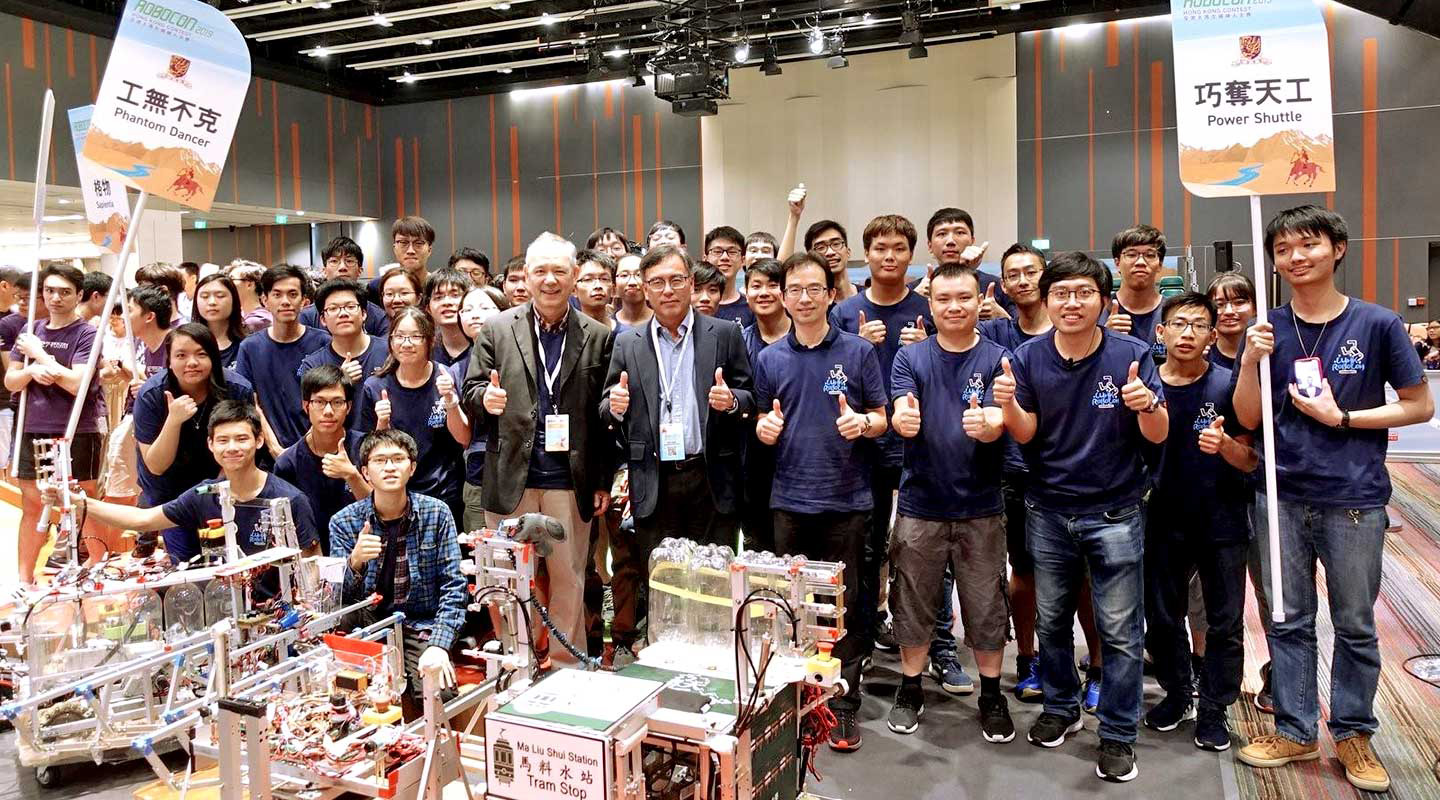 Professor Wong with CUHK students building their way to victory at Robocon 2019 here in Hong Kong and in Asia