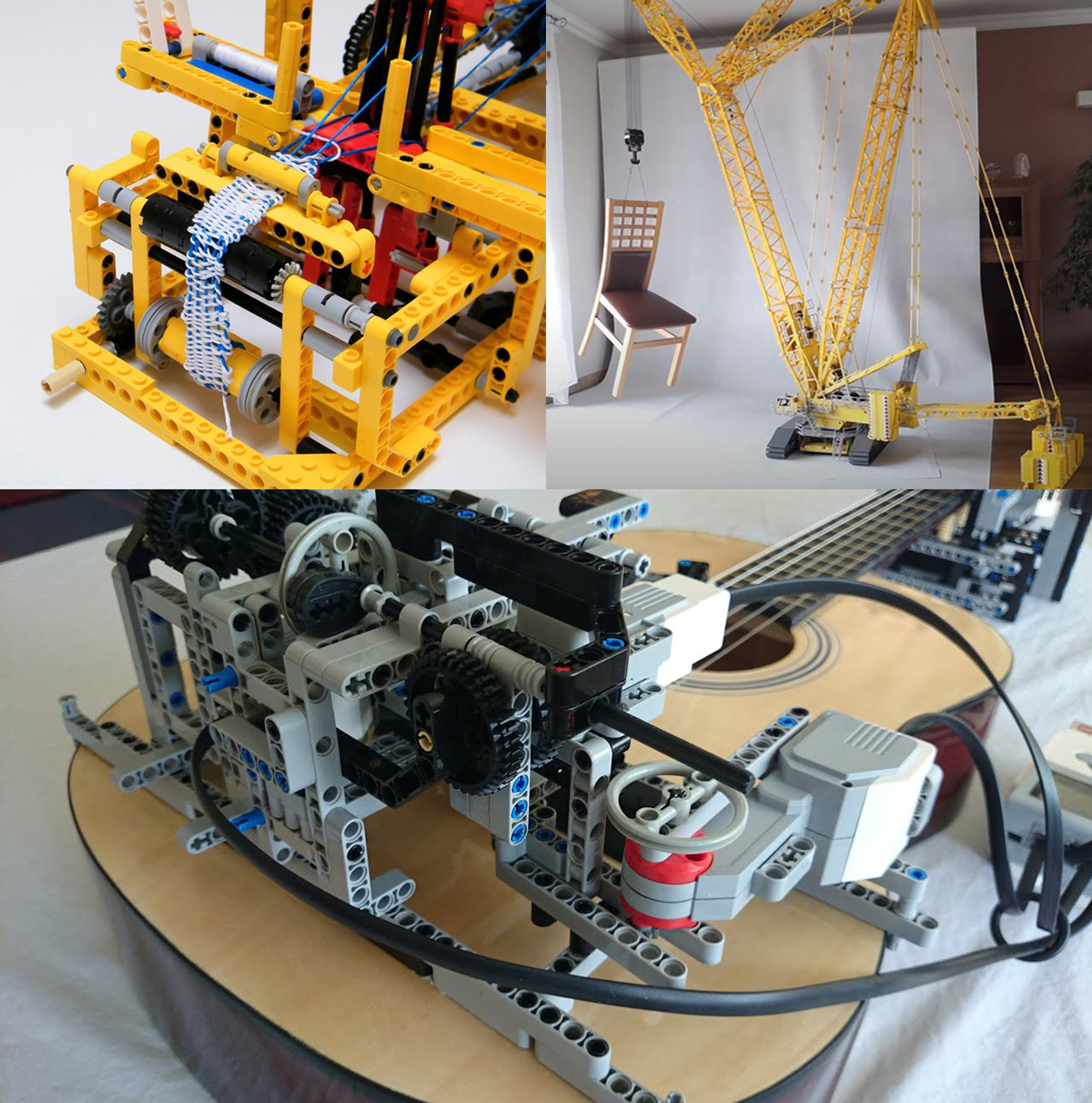 Some of the practical uses of LEGO Technic system include: (a) mechanical loom (upper left, source: N. Lespour); (b) crawler crane for lifting (upper right, source: D. Szmandra), and (c) guitar playing (bottom, source: TECHNICally Possible)