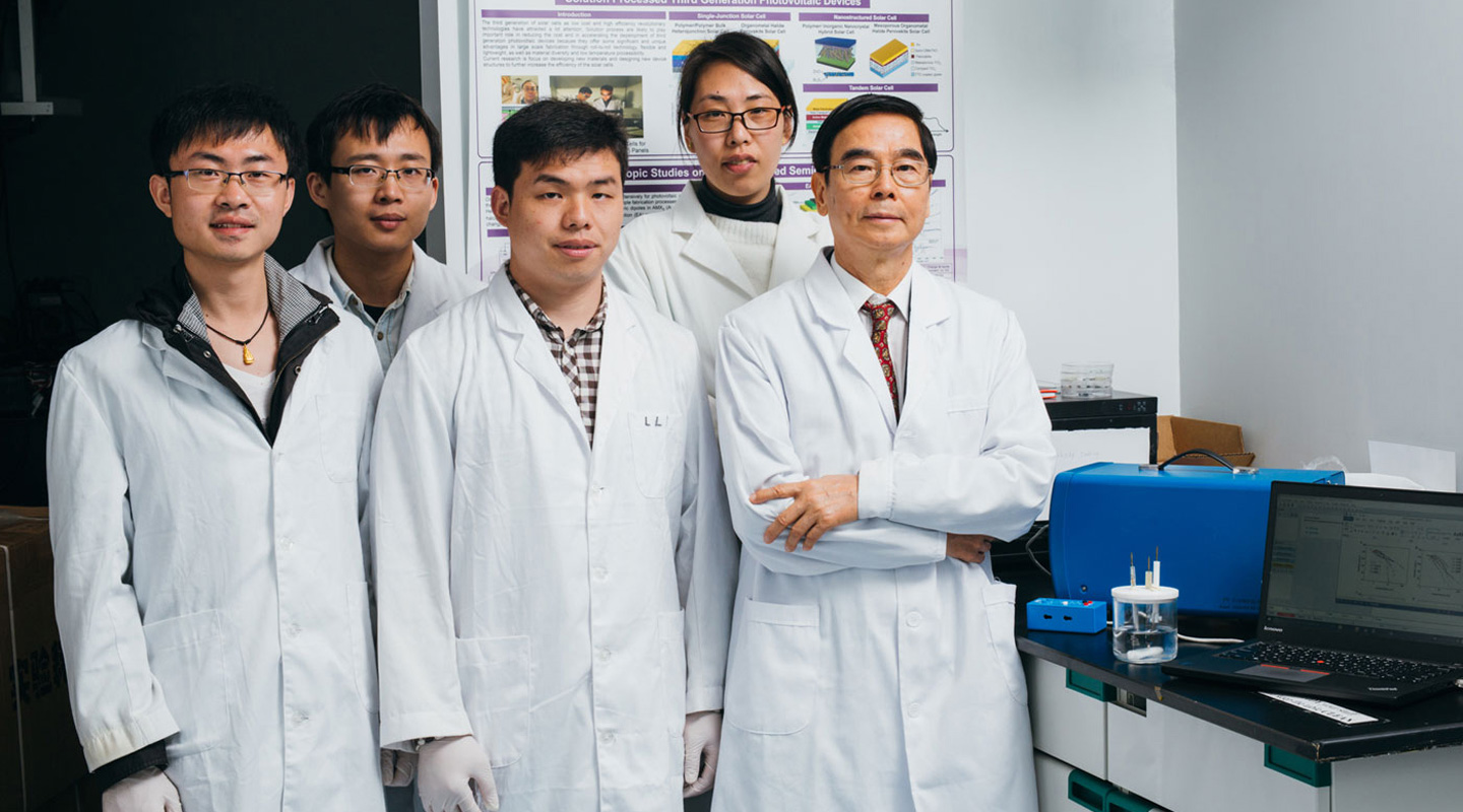 Professor Wong with his research students