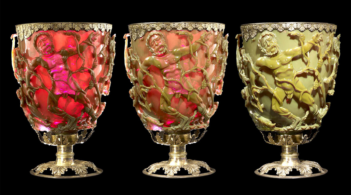 Lycurgus Cup changes colour in different lighting conditions <em>(Source: British Museum)</em>