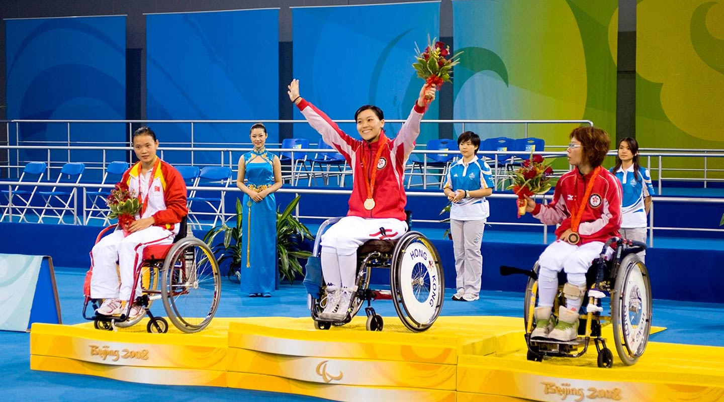 Alison Yu clinching gold in the 2008 Beijing Paralympics. She's the Hong Kong record holder for most Paralympic gold medals