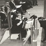 Sir David Trench officiated at the first degree conferment ceremony in October 1964