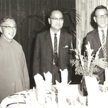 The Vice-Chancellor and the College Heads: (from left) Ch'ien Mu, Choh-ming Li, K.T. Yung, T.C. Cheng