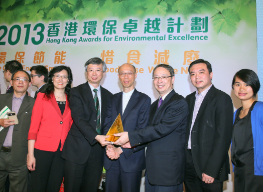 From left: Mr. Benny Tam, Director of Estates Management; Ms. Vivian Ho, Director of Campus Planning and Sustainability; Prof. Fung Tung, Associate Vice-President; Mr. Wong Kam-sing, Secretary for the Environment; Prof. Chu Lee-man, Chairman of the Committee on Campus Environment; Mr. Jor Fan, Environmental Sustainability Manager of Estates Management Office; Ms. Doris Chan, Project Coordinator of Estates Management Office