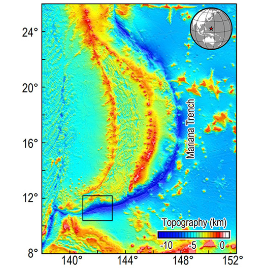 <em>Figure 2: Location and shape of the Mariana subduction zone. The box is the target area of scientific expeditions to be conducted in 2017</em>