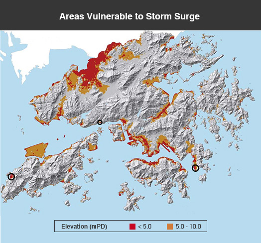 <em>Areas of low surface elevation in the Hong Kong territory. Open circles (from left) indicate the locations of Tai O, Sham Tseng and Lei Yue Mun </em>(Source: Hong Kong Climate Change Report 2015)